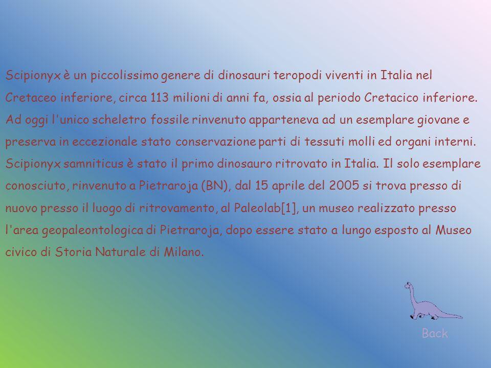 Scipionyx è un piccolissimo genere di dinosauri teropodi viventi in Italia nel Cretaceo inferiore, circa 113 milioni di anni fa, ossia al periodo Cretacico inferiore. Ad oggi l unico scheletro fossile rinvenuto apparteneva ad un esemplare giovane e preserva in eccezionale stato conservazione parti di tessuti molli ed organi interni. Scipionyx samniticus è stato il primo dinosauro ritrovato in Italia. Il solo esemplare conosciuto, rinvenuto a Pietraroja (BN), dal 15 aprile del 2005 si trova presso di nuovo presso il luogo di ritrovamento, al Paleolab[1], un museo realizzato presso l area geopaleontologica di Pietraroja, dopo essere stato a lungo esposto al Museo civico di Storia Naturale di Milano.